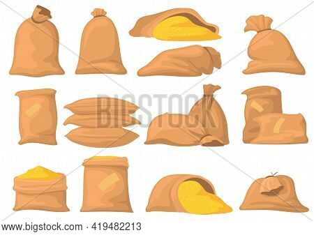 Bags Of Flour, Rice, Wheat And Sugar Vector Illustrations Set. Cartoon Sacks With Harvest, Food Isol
