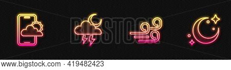 Set Line Windy Weather, Weather Forecast, Storm And Moon And Stars. Glowing Neon Icon. Vector