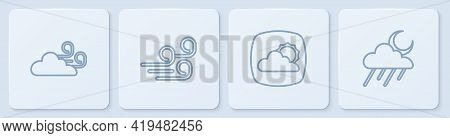 Set Line Windy Weather, Weather Forecast, And Cloud With Rain And Moon. White Square Button. Vector