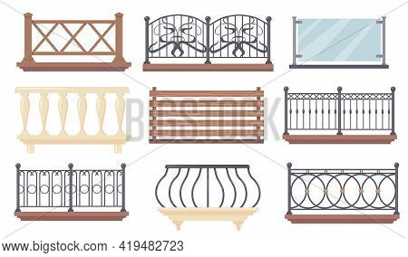 Vintage And Modern Balcony Railings Vector Illustrations Set. Iron, Wooden Or Glass Fences With Balu
