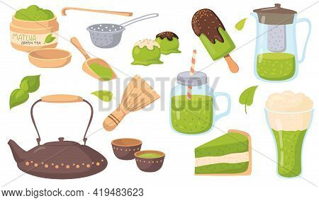 Products With Matcha Tea Flavor Vector Illustrations Set. Elements Of Japanese Culture, Teapot, Matc