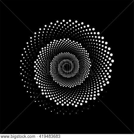 White Spiral Of Dots In Monochrome Style. Design Helix For Abstract Background. Abstract Spiral Soun