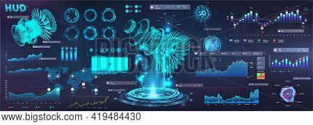 Modern Business Elements Ui, Ux In Hud Style. Futuristic User Interface Gui 3d Objects, Infographics
