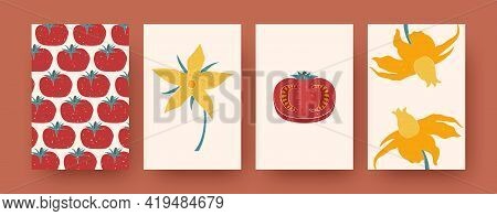 Set Of Contemporary Art Postcards With Vegetal, Floral Patterns. Vector Illustration. Collection Of