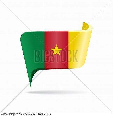 Cameroon Flag Map Pointer Layout. Vector Illustration.