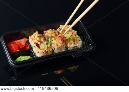 Fresh Sushi Rolls With Shrimp, Crab Served In Lunch Box For Takeaway. To Go Japanese Sushi Food Conc