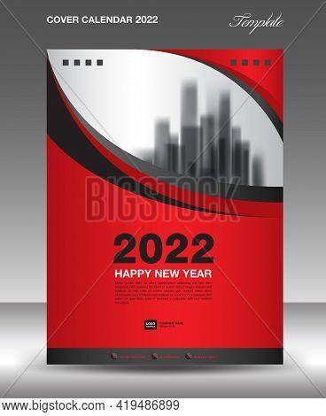 Cover Desk Calendar 2022-red Wave Background-2