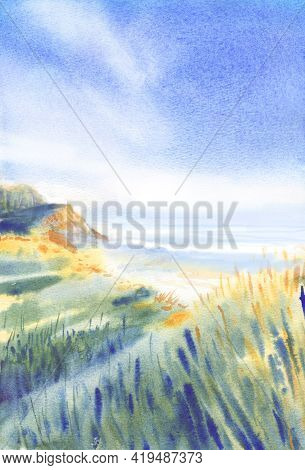 Delicate Watercolor Landscape. Seashore In The Rays Of The Sunset. Warmth And Calmness. Watercolor L