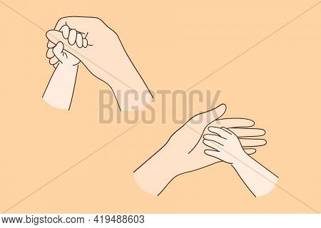 Motherhood, Trust And Support Concept. Close-up Of Hands Of Child And Adult, Parent And Son Or Daugh