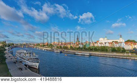 Szczecin, West Pomeranian Voivodeship, Poland - 06 September 2020: Morning Over The City. Panoramic