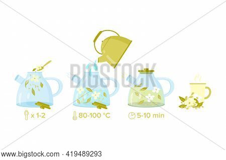 How To Make Herbal Tea. Brewing Tea Instruction. Vector Illustration With Glass Teapot, Gold Kettle