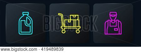 Set Line Bottle For Cleaning Agent, Seller And Hand Truck And Boxes. Black Square Button. Vector
