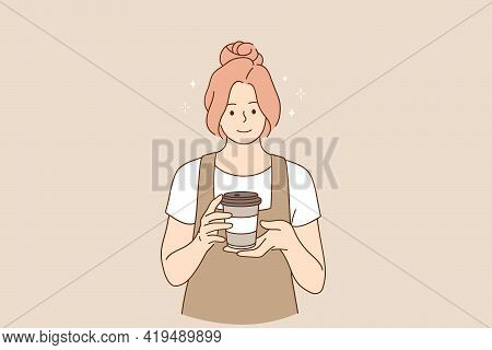 Coffeeshop And Cafeteria Concept. Young Smiling Woman Barista Cartoon Character Working At Cafeteria