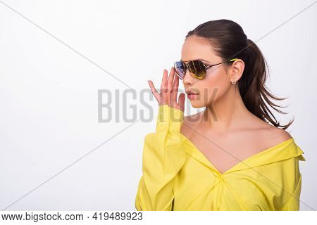 Sunglasses Vogue Fashion. Girl In Summer Sunglasses. Fashionable Style Trend.