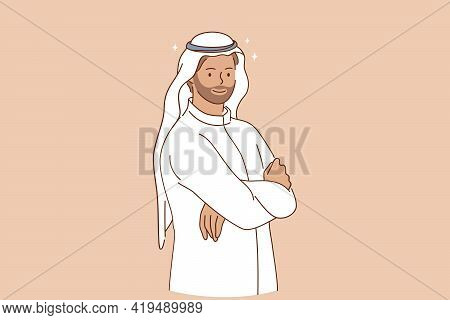 Arabic Ethnicity And Traditional Wear Concept. Portrait Of Smiling Arabic Man Cartoon Character With