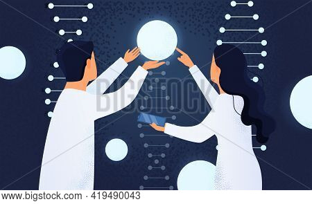 Gene Editing Abstract Concept. Man And Woman Scientists In Laboratory Working Against The Background