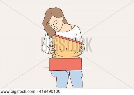 Present, Gift And Surprise Concept. Young Surprised Positive Girl Cartoon Character Sitting Opening