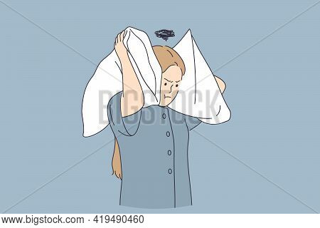 Stress And Annoying Concept. Annoyed Young Woman Cartoon Character Standing Covering Ears With Pillo