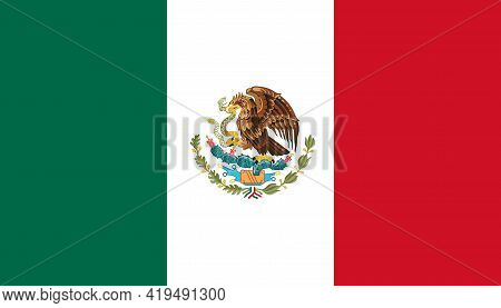National State Flag Of Mexico. Tricolor Of Green, White, And Red With The National Coat Of Arms Char
