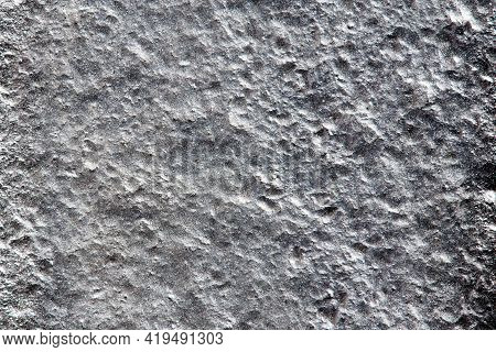 Closeup Background Of Casting Metal Steel Texture Macro. Gray Cast Iron Galvanized Silver Surface. C