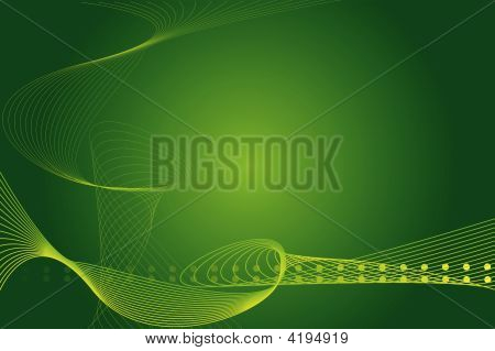 abstract background with dots and swirl in green and yellow poster