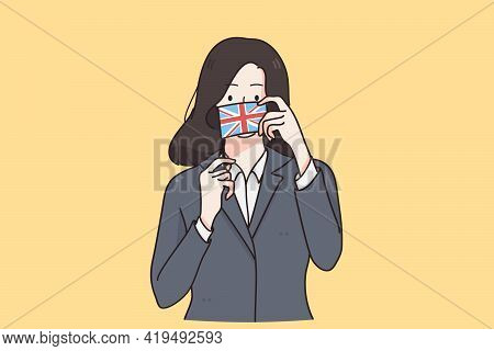 English Flag And Culture Concept. Young Business Woman In Jacket Cartoon Character Standing Holding