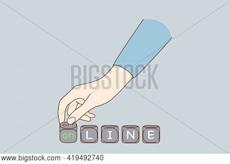 Turning Online To Offline Concept. Human Hand Turning Dices And Changing Words Online To Offline Mea