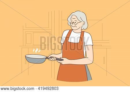Happy Elderly Cooking Lifestyle Concept. Smiling Mature Aged Woman In Apron Cartoon Character Standi