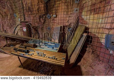 Tennant Creek, Australia - Aug 2019: Drill Bits Of Battery Hill Gold Mine. Old Museum Underground Of