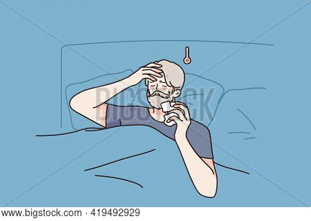 Feeling Sick And Fever Concept. Aged Sick Man Cartoon Character Staying In Bed With Headache And Hig