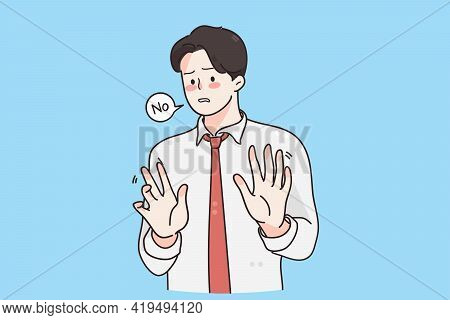 Stop, Forbidden Sign, Refusal Concept. Young Frustrated Handsome Businessman Wearing Tie Standing Mo