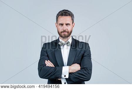 Confident And Successful Man In Tuxedo Bow Tie Crossed Hands, Bride Groom