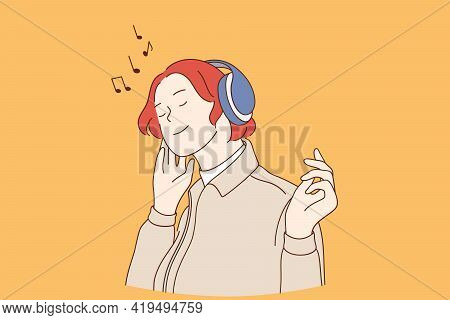 Listening To Music Lifestyle Concept. Young Happy Red Haired Woman Cartoon Character In Headphones L