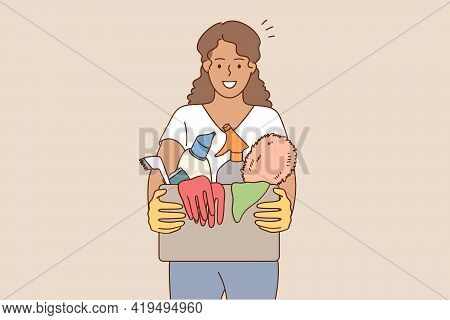 Housework And Cleaning Apartment Concept. Portrait Of African American Housewife Woman Cartoon Chara