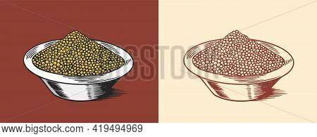 Mustard Seeds Or Condiment. Dip Or Dipping Sauce. Illustration For Vintage Background Or Poster. Eng