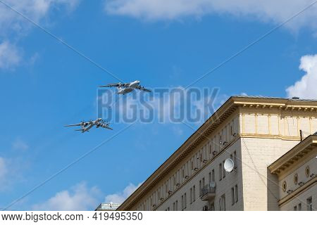 05 May 2021, Russia, Moscow. Rehearsal Of The Air Parade. Il-78 In The Air Above Red Square