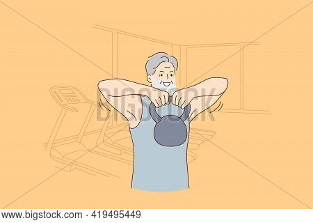 Active Joyful Elderly People Lifestyle And Fit Concept. Smiling Cheerful Hipster Senior Man Training