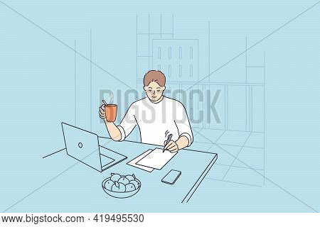 Businessman Having New Ideas Concept. Young Positive Businessman Cartoon Character Sitting At Desk T