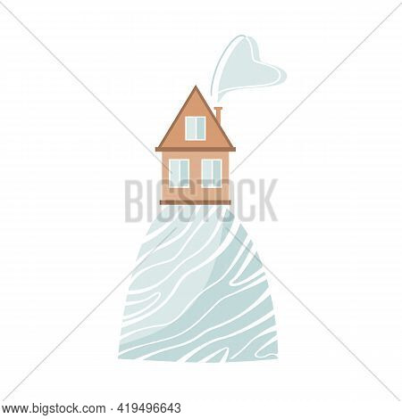 Stylish Card With Cartoon House On The Hill In Scandinavian Style. Vector Illustration Isolated On W