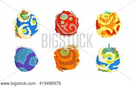Fantastic Planets With Alien Life On It Vector Set