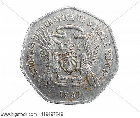 Saint Thomas Island Two Thousand Dobras Coin On White Isolated Background