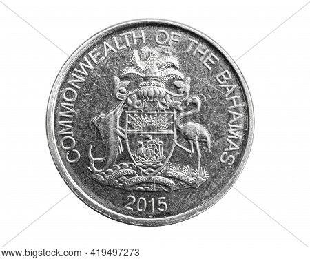 Bahamas Twenty Five Cents Coin On White Isolated Background