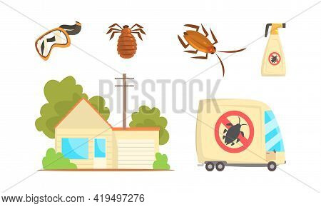 Special Equipment For Pest Control Service And Extermination Of Insects Vector Set