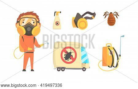 Man In Protective Suit And Special Equipment For Pest Control Service And Extermination Of Insects V