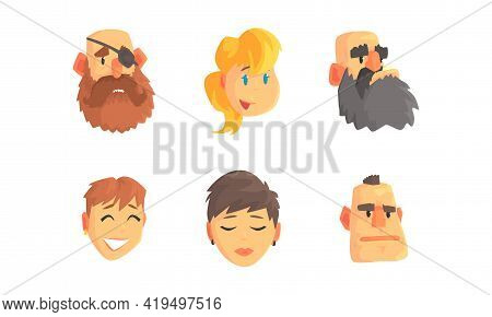 Man And Woman Face And Head With Different Hairstyle And Emotion Vector Set