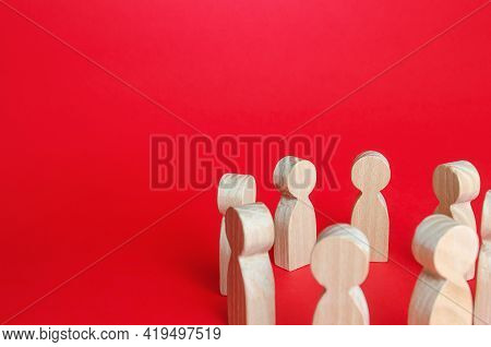 Figures Of People In A Circle. Social Gathering Concept. Discussion Of Problems, Development Of Solu