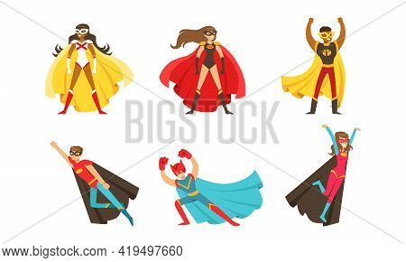 Male And Female Superhero Characters In Mask And Fluttering Cloak Rushing To The Rescue Vector Set