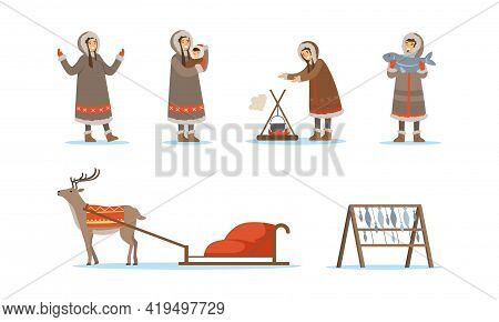 Eskimo Characters In Traditional Clothing And Arctic Animals Vector Set