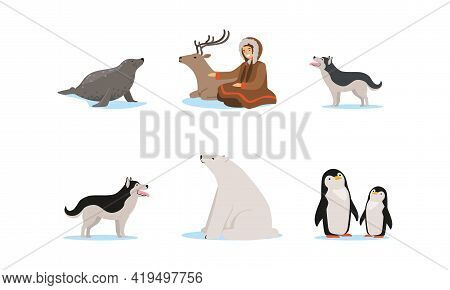 Female Eskimo Character In Traditional Clothing And Arctic Animals Vector Set