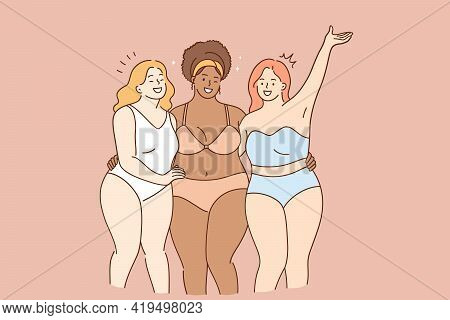 Body Acceptance, Body Positivity And Diversity Concept. Group Of 3 Smiling Happy Oversize Women Posi